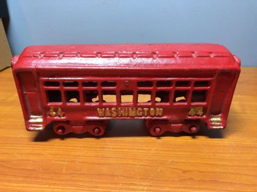 Vintage Cast Iron Train Passenger Car Red Gold Washington 44