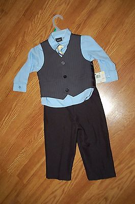 NEW!! Boys 24 Months 4 Pc Holiday Wedding Suit Blue Dress Shirt Tie Vest Pants