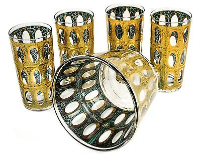 Vintage Set Mid Century 22kt Gold Culver 'Pisa' Cocktail Drinking Glasses 10 oz