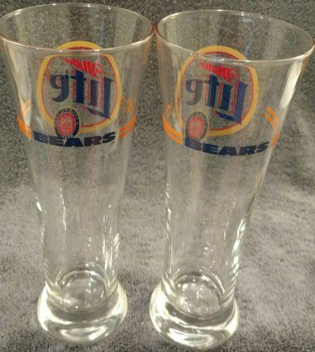 MINT PAIR OF 2 MILLER LITE CHICAGO CUBS TALL LARGE BEER PILSNER PILSENER GLASSES