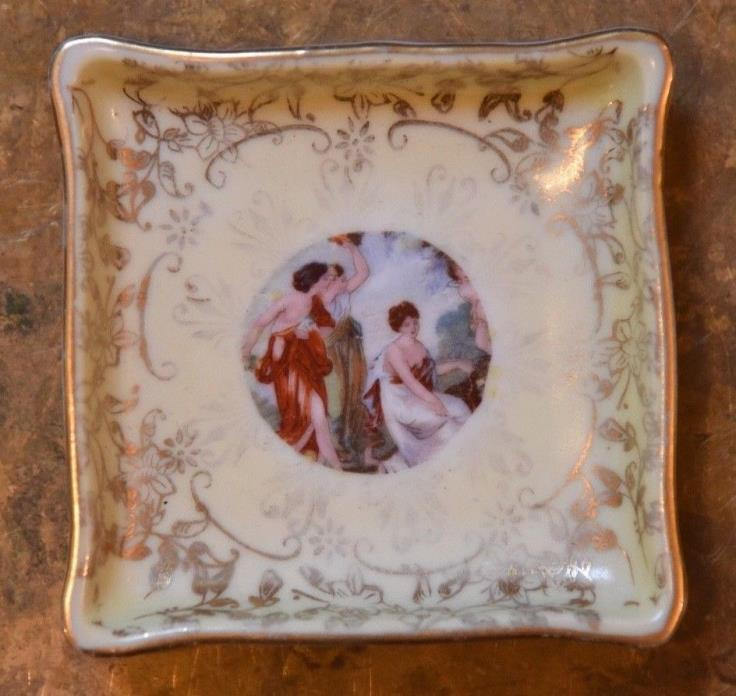 Hand Painted  Square Plate Antique French M.Redon France Limoges?  MR 3 Goddess