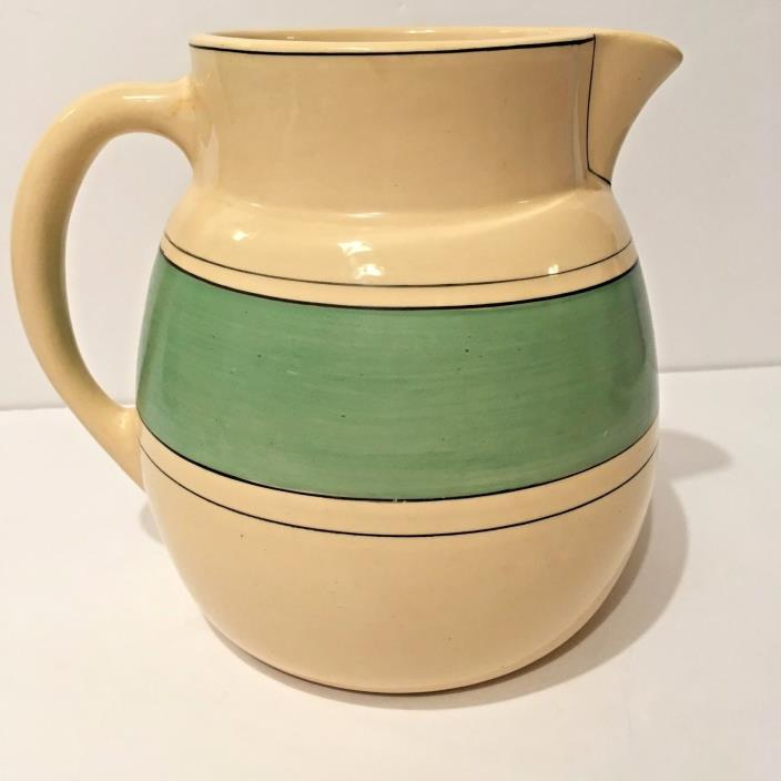 Roseville Pottery Creamware Green Band Utility Pitcher 1915-1930 Signed 7 1/2