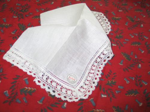 Exquisite Vintage Linen Bobbin Lace HANKY Wedding Bridal Handkerchief NOS Label