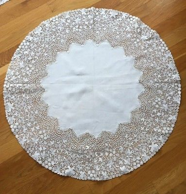 Antique Chemical Lace linen round table cloth Beautiful Floral  28