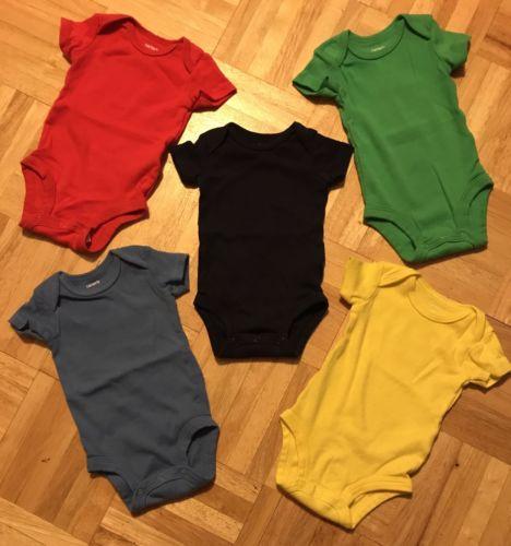 Carters Baby Basics Boys 5-Pack Set Lot Solid Bodysuits Shirts ~ Newborn NB
