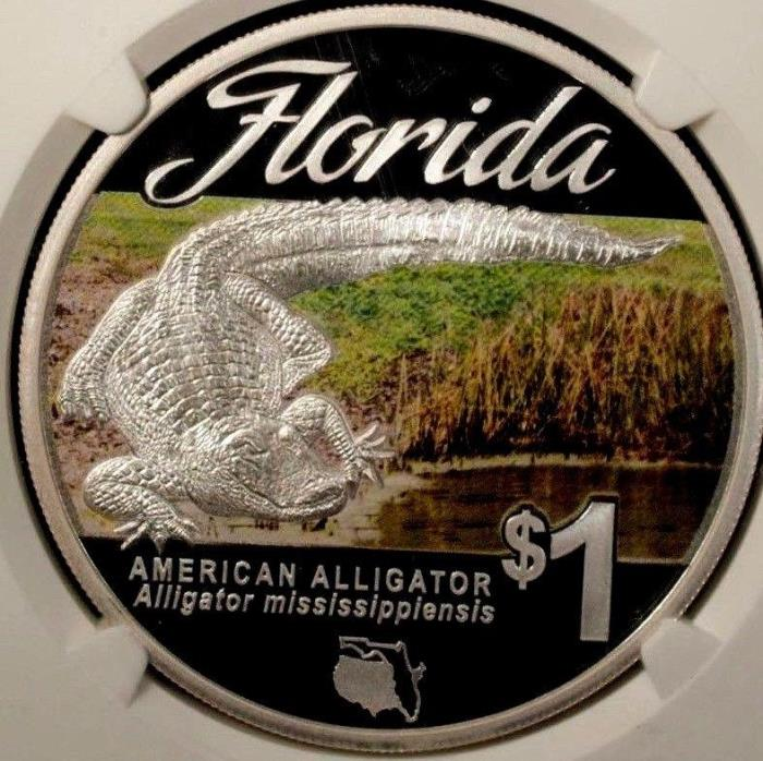 Tuvalu  1 Dollar  2014  NGC PF 70 Ultra Cameo UNC Silver American Alligator