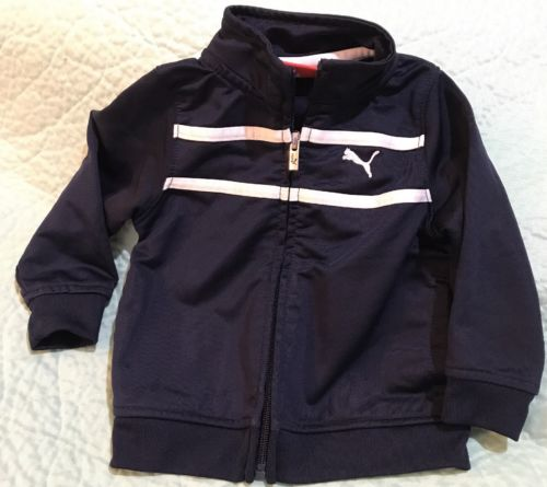 Puma Baby Toddler Zip Up Crew Jacket Coat 12 Months Track Navy Blue White Infant