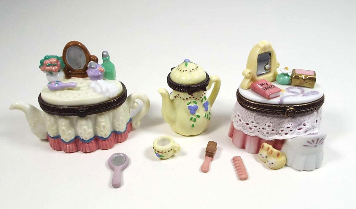 3 Porcelain Hinged Trinket Box Miniatures Makeup Vanity Teapot PHB Cannon Falls