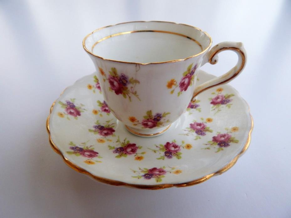 Vintage Stanley Bone China Demitasse Cup & Saucer Tiny Roses Chintz England