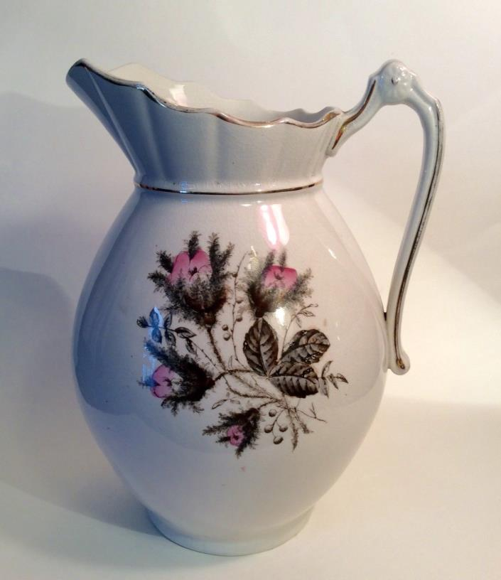 Large 19th C.Antique Ironstone Wash Pitcher Moss Rose Transfer England or France