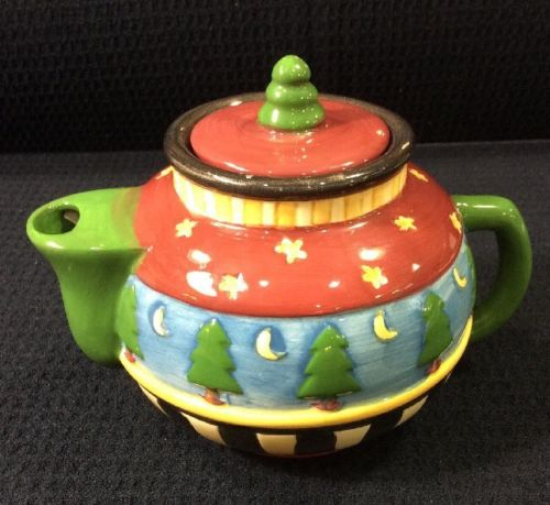 Sakura Mini Teapot Collector Handpainted Debbie Mumm Christmas Trees