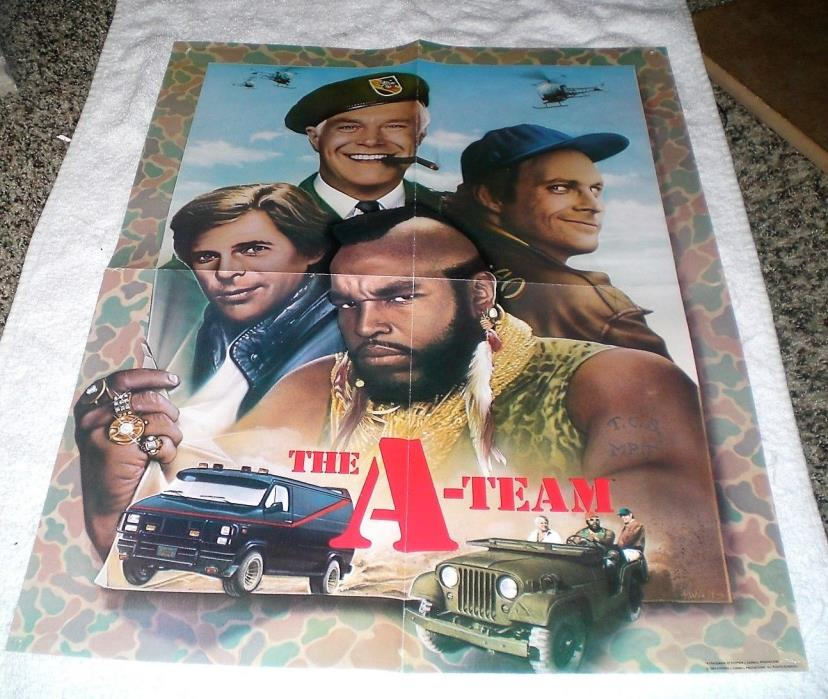 RARE THE A-TEAM 1984 FAN CLUB PROMOTIONAL POSTER GEORGE PEPPARD MR. T Face GUC