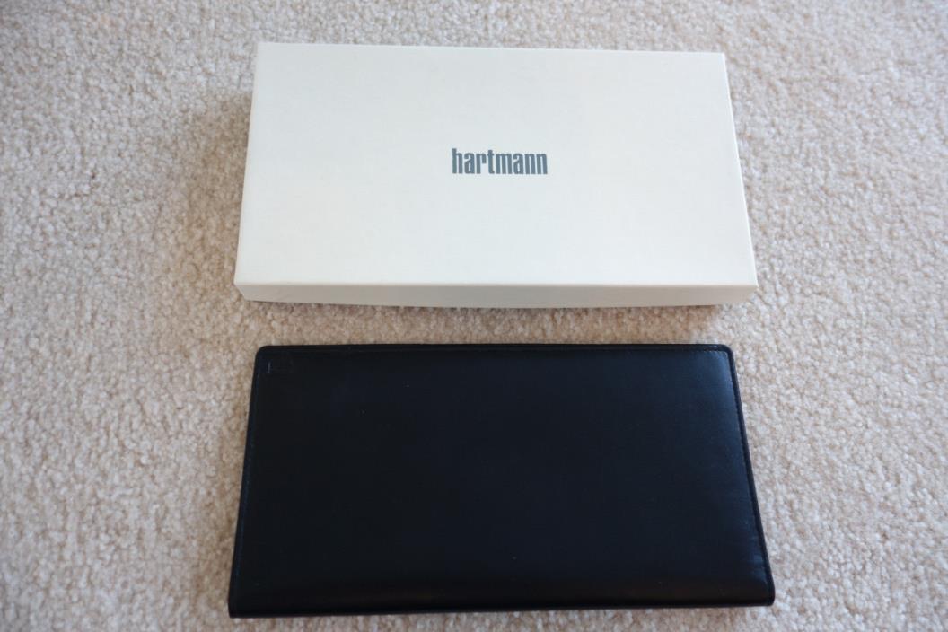 NEW Hartmann Black Leather Travel Organizer Passport Holder ID Case Wallet