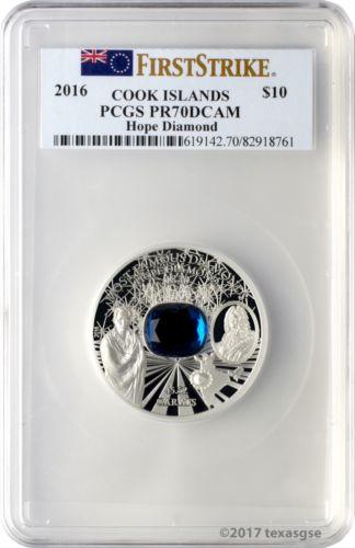 2016 $10 Cook Islands Hope Diamond 2 oz .999 Silver Coin PCGS PR70DCAM FS