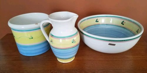 RARE ONE OF A KIND Calesa Italian Bowl and Pitcher Set with Crock