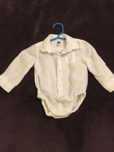 Janie And Jack White Linen Button Front Body Suit With Collar Size 12-18 Months