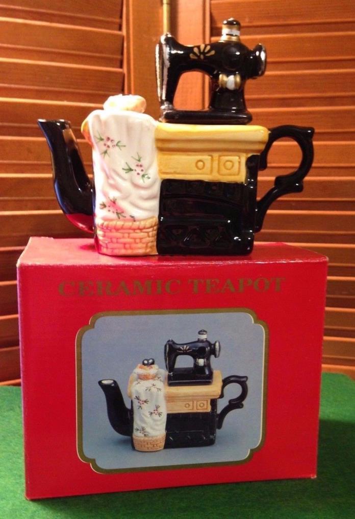 Ceramic Tea Pot Antique Sewing Machine with original Box Nos 3 diff. styles