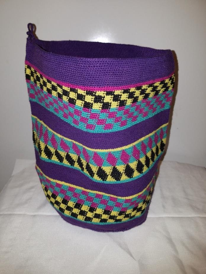 Large Multi Color Mayan Guatemalan Single hoop sack bag Boho Latin Hand Loom NOS