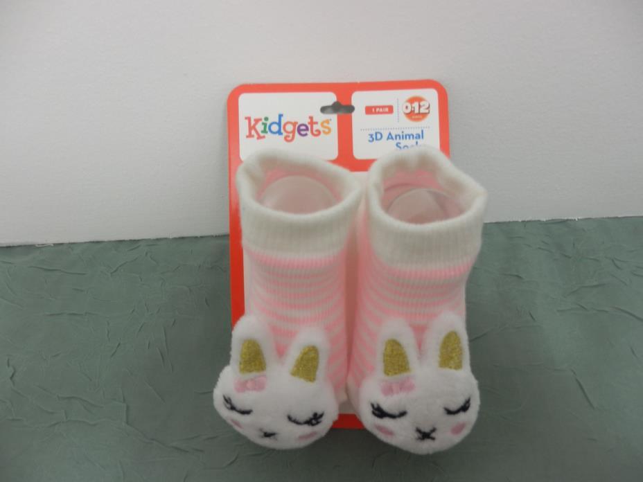 Kidgets 3D Animal Socks Baby Booties Pink White Kitty Cat 0-12 Months-1pr -#S131