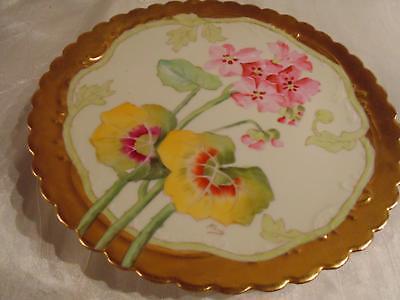 Antique Limoges Elite Works Heavy Gilt Border Floral Hand Painted Plate signed