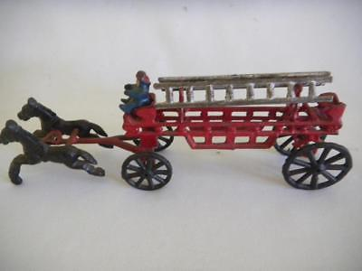 Mid Century CAST IRON Toy HORSE Drawn FIRE ENGINE Ladder Wagon