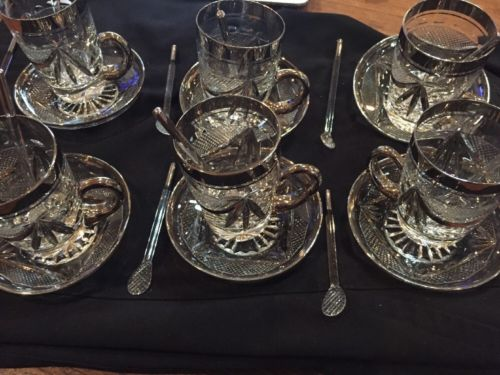 Vintage High End Turkish Tea Set With Silver Trim - NICE