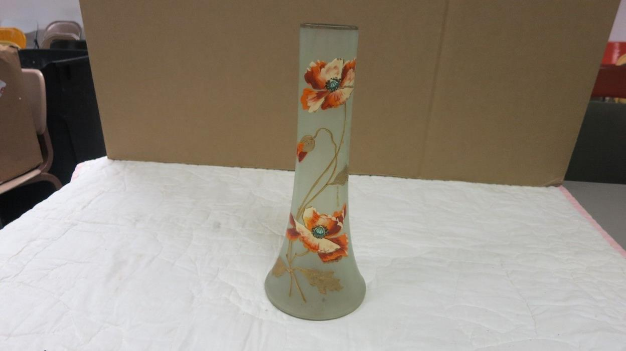 VTG BOHEMIAN GLASS VASE  FROSTED  HAND PAINTED FLORAL VASE 12