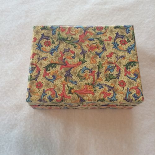 "Floral Print Trinket Jewelry Box 5.5"" By 4"" Multi Color Floral Print"