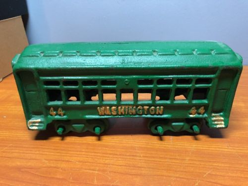 Vintage Cast Iron Train Passenger Car Green Gold Washington 44