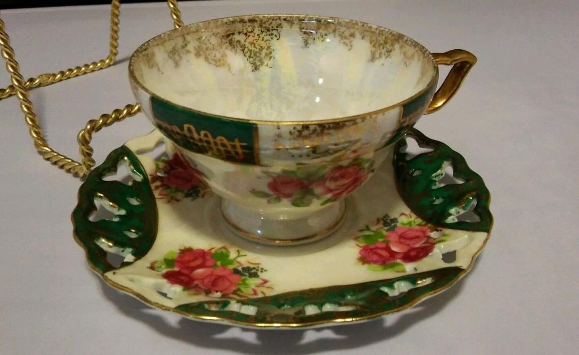 Vintage Tea Cup & Butterfly/Reticulated Saucer Gold Green Gilt Rose Japan