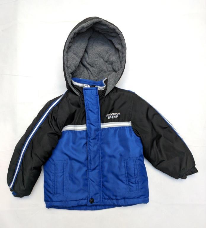 London Fog Toddler Boys 4T Blue Black 54 E18° Sport Fleece Lined Hooded Coat
