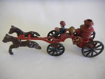 Mid Century CAST IRON Toy HORSE Drawn FIRE ENGINE Wagon