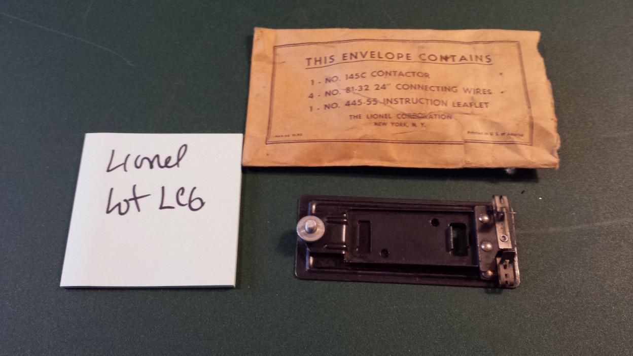 Lionel - No. 145 C Automatic Accessories Contactor w/Envelope -  LOT LC6