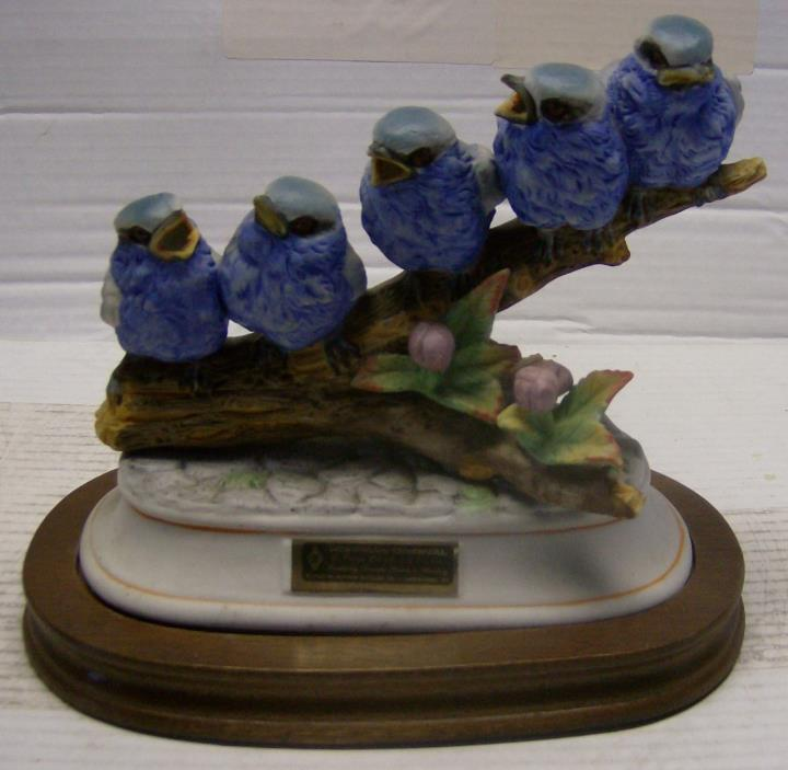 HTF BLUE Titmice on a Branch Decanter w/wood base by Hoffman Whiskey from 1979