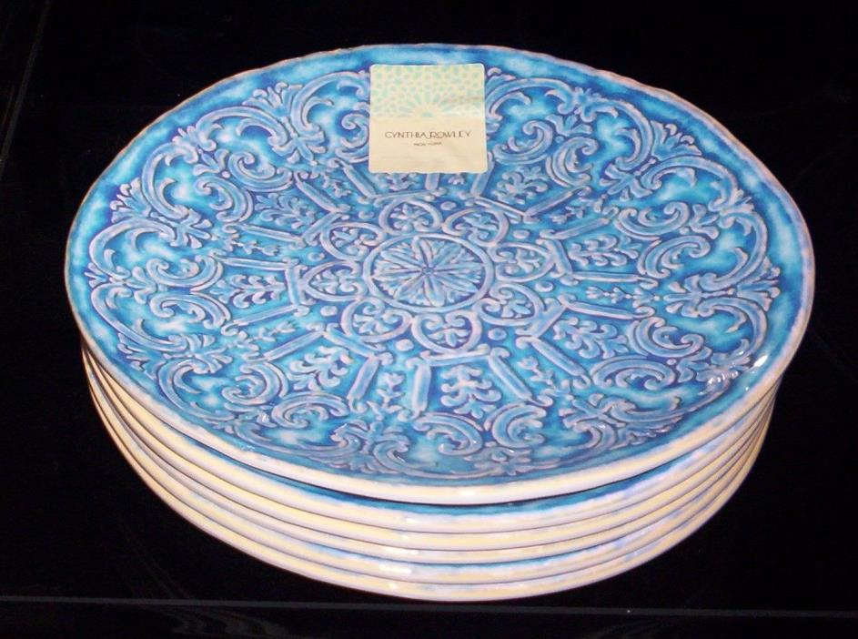 6 Cynthia Rowley Blue Medallion MELAMINE Dinner Plates  Indoor Outdoor