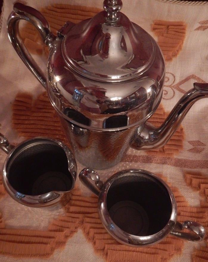 Cromwell Silver Co Chromium Coffee Creamer Sugar Tea Set stainless steel chrome
