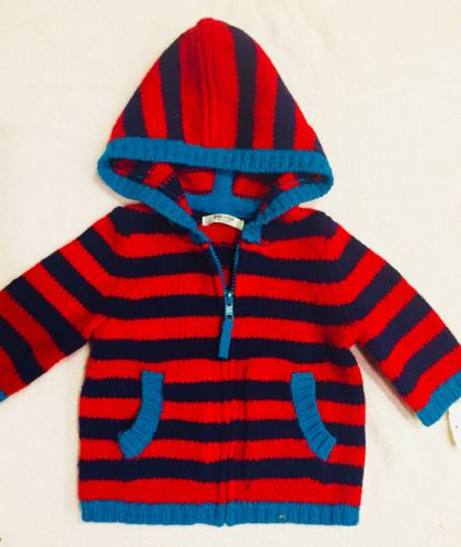 New Baby Boden Multi Color Stripe Cardigan With Hood Size 3-6M