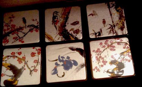 VINTAGE JAPANESE COASTERS FLOWERS AND BIRDS BY SENDA SET OF SIX NIB KYOTO, JAPAN
