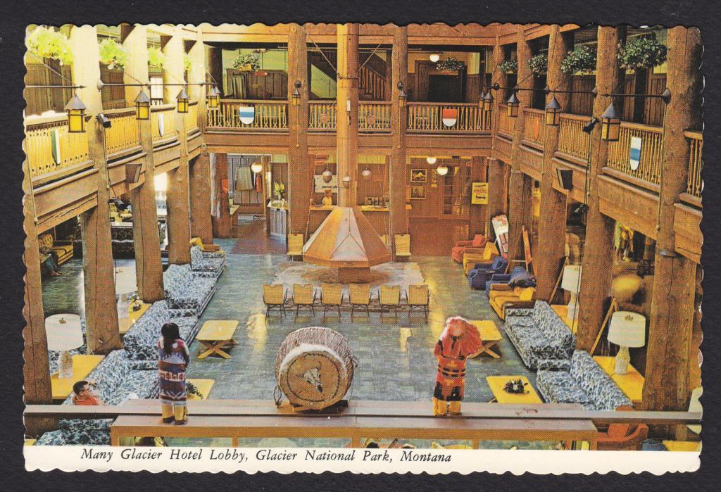 Glacier National Park-Montana-Many Glacier Hotel Lobby-Vintage Postcard