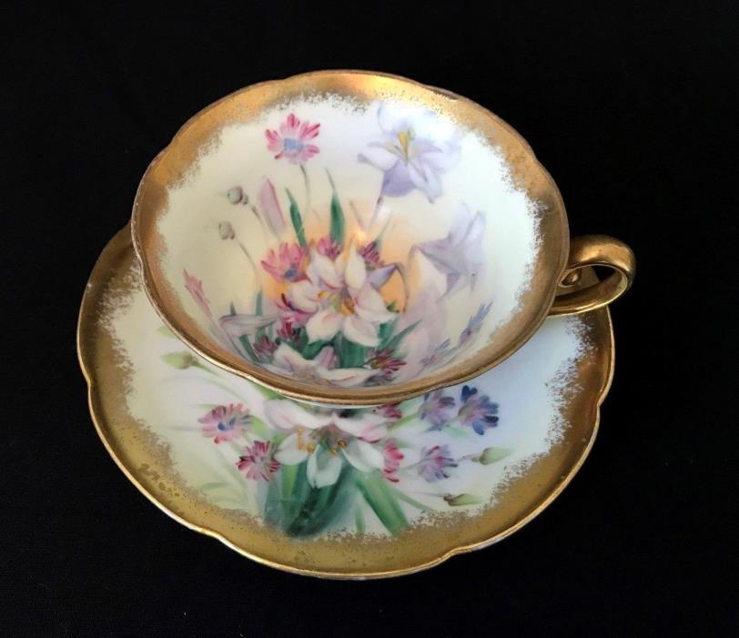Vintage Takiro Japan Hand Painted Lilies Floral Teacup & Saucer Gold Trim
