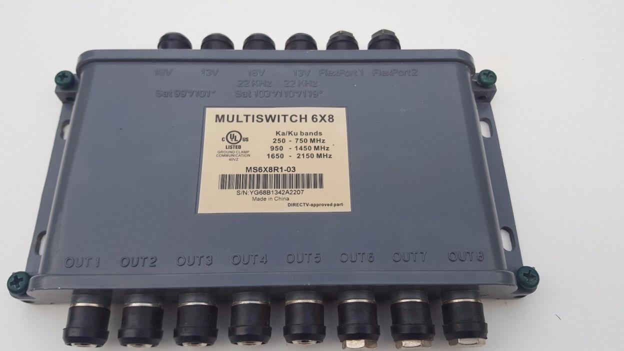DirecTV 6x8 Multiswitch MS6X8R1-03 DTV Wide-Band Ka/Ku Slimline Satellite Switch