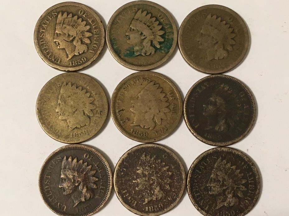1853 Indian head cent rare one year type coin 9 coins for one price Free Ship !