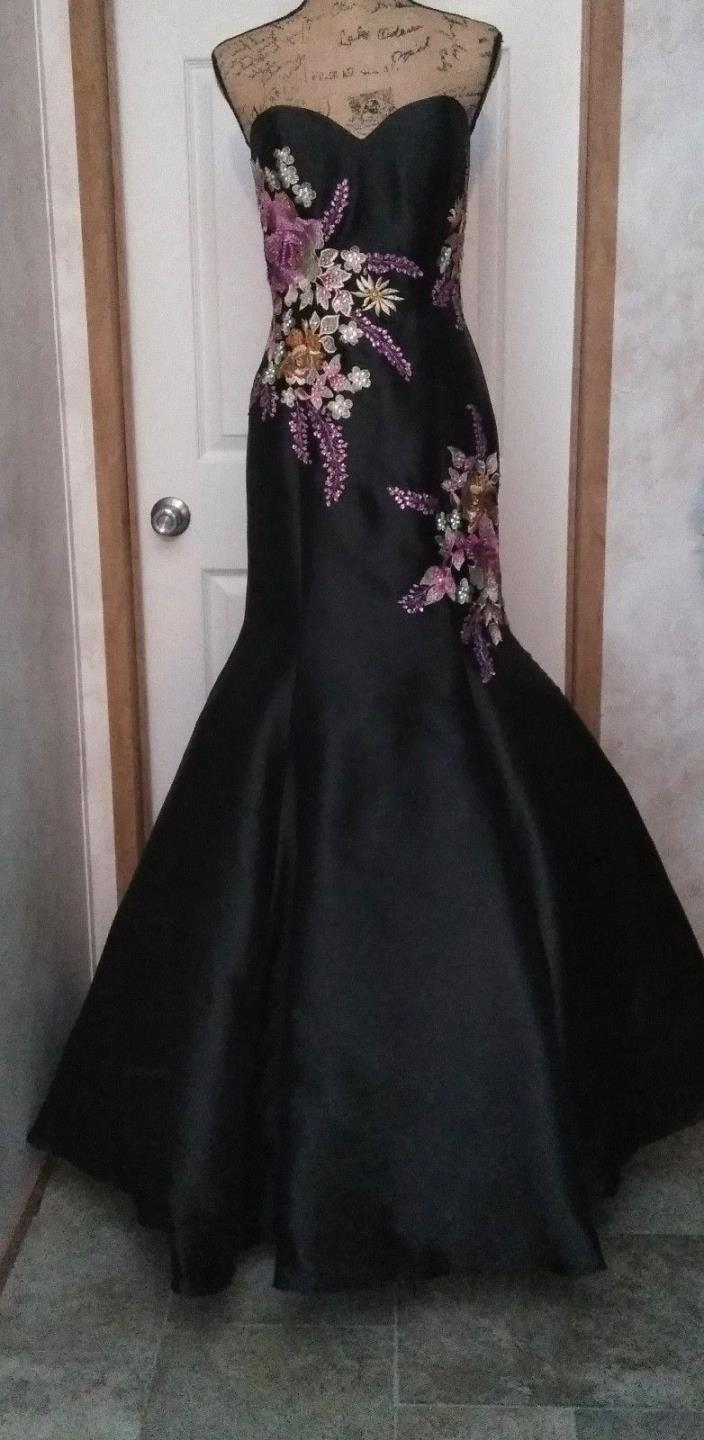 NWT JOVANI BLACK & MUTLI-COLOR GOWN * SZ 6 * FLORAL * HAND BEADED * $550-650