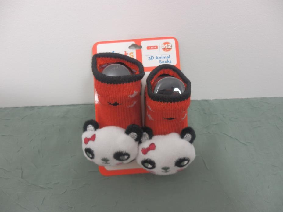 Kidgets 3D Animal Socks Baby Booties Red w/Panda Bear 0-12 Months - 1pr REF#S131