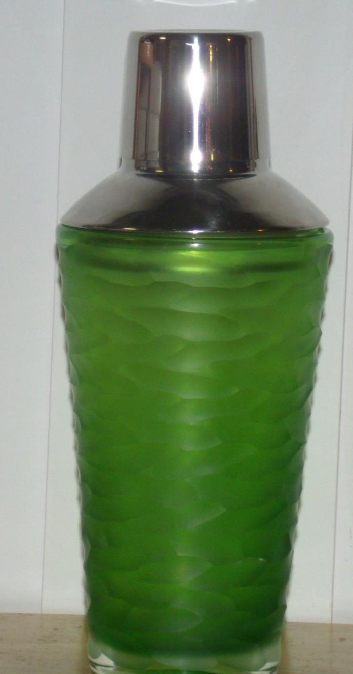 Vintage Cocktail Shaker Green Satin  Wavy Glass Aluminum Top Heavy EUC