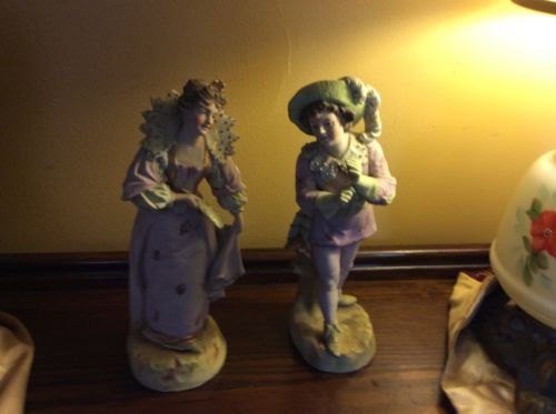 A pair of antique bisque figurine.Mint