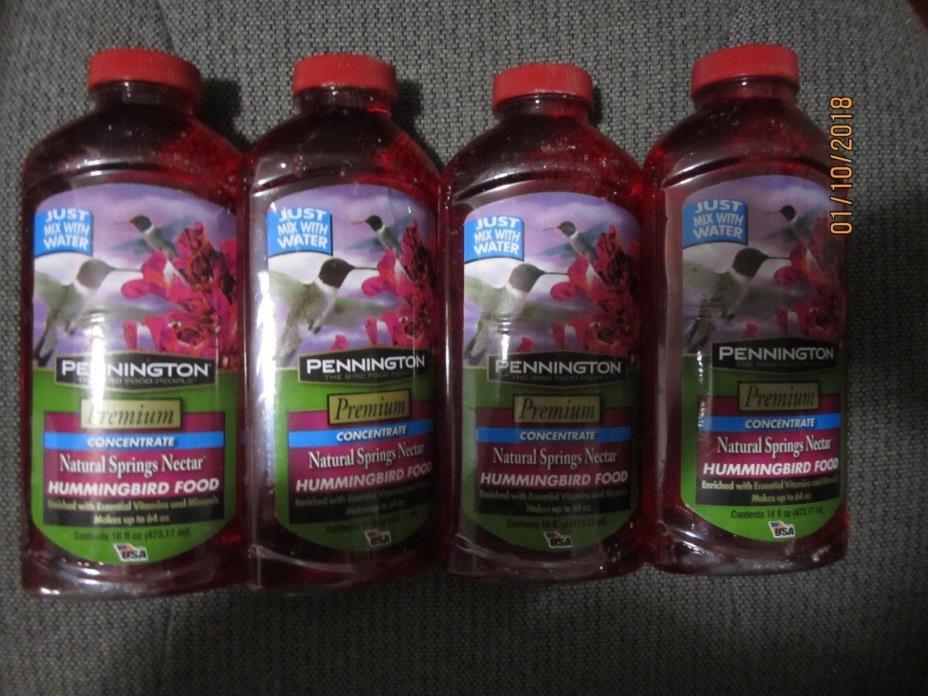 4x Pennington Premium Concentrate Hummingbird Nectar Food Liquid 16 oz