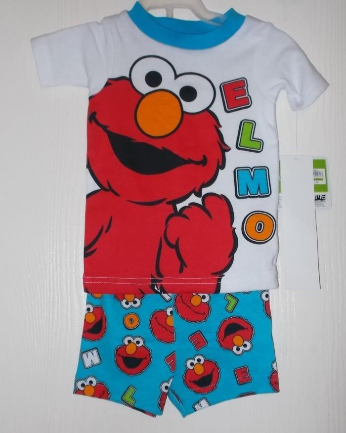 Boys Size 12 Months Sesame Street Elmo 2-Piece Top & Shorts Pajama Set NWT