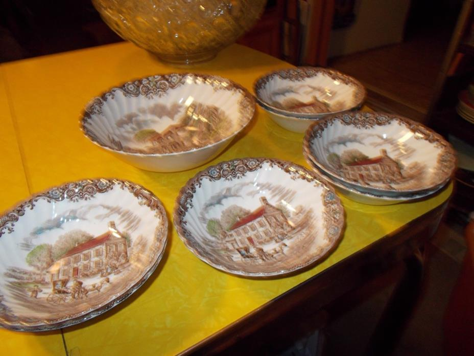 Heritage Hall Ironstone China, Staffordshire, England  7 Cereal & 1 Large Bowls