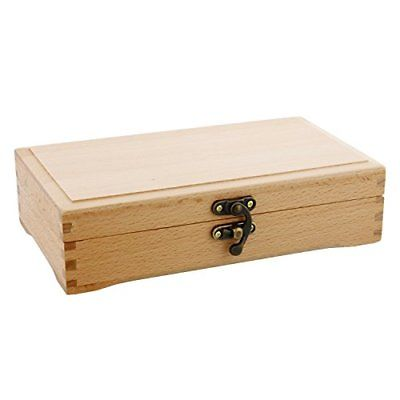 US Art Supply Small Beechwood Artist Tool and Brush Storage Box with Locking